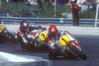 1982 in Anderstorp: Die Yamaha-Teamkollegen Roberts (1) und Sheene (7)
