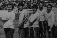 DDR-Nationalmannschaft mit Trainer Heinz Ramsch, Heinz Hoppe, Manfred Stein und Helmut Schadenberg (v.l.n.r.)