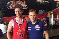In der Hospitality von Red Bull Honda: Marcel Dachs (li.) mit Stefan Bradl
