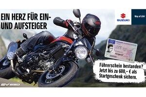 Jeder Biker mit neuem Führerschein wird ab sofort von Suzuki gefördert
