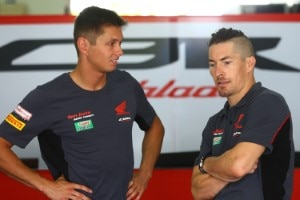 Michael van der Mark (li.) mit Honda-Teamkollege Nicky Hayden