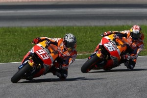 Marc Márquez und Dani Pedrosa lagen in Sepang weit hinter den Yamaha-Piloten
