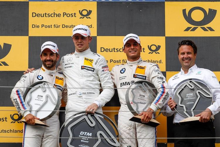 Mercedes und BMW auf Podium DTM: Di Resta siegt in Budapest