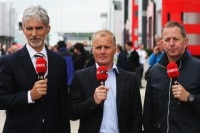 Damon Hill, Johnny Herbert und Martin Brundle von Sky