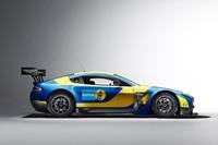 Blau-gelbes Kleid für den V12 Vantage GT3