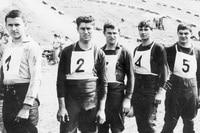 1966 beim MXoN in Remalard (Frankreich): Paul Friedrichs, Joachim Helmhold, Udo von Glowacki, Dieter Müller und Heinz Hoppe (v.l.n.r)