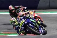 Unter Druck: Rossi wehrt sch gegen Pedrosa und Zarco