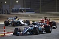 Valtteri Bottas in Bahrain vor Sebastian Vettel und Lewis Hamilton
