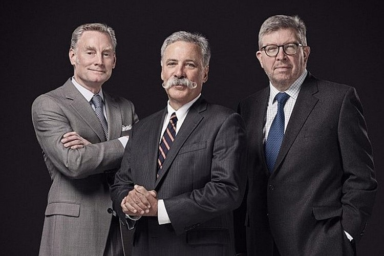 Sean Bratches, Chase Carey und Ross Brawn