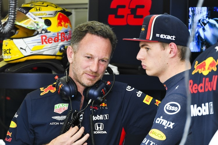 Red Bull Racing-Teamchef Christian Horner mit Max Verstappen