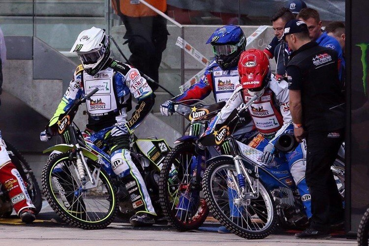 Die Weltmeister Chris Holder, Greg Hancock und Nicki Pedersen (v.l.)