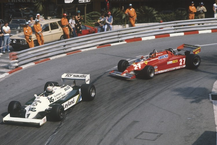 Alan Jones in Monaco 1981 vor Gilles Villeneuve im Ferrari