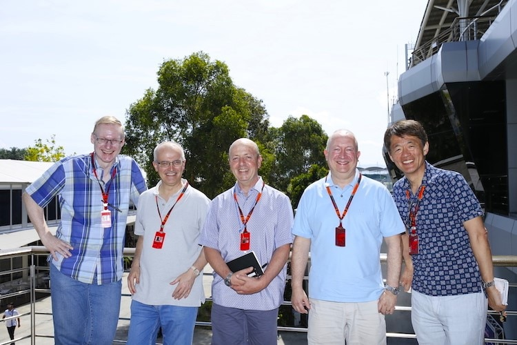 Einige Journalistenkollegen in Sepang 2015, von links: Mathias Brunner, Luis Vasconcelos, Eric Silberman, Tony Dodgins, Kunio Shibata