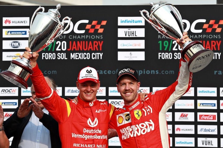 Mick Schumacher mit Sebastian Vettel beim Race of Champions in Mexiko