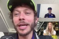 Valentino Rossi mit Gautier Paulin und Amy Dargan im Video-Chat