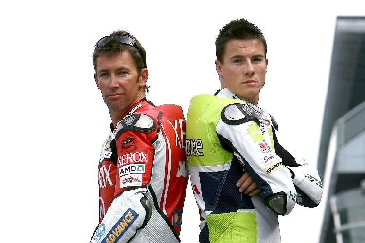 Die Superbike-Weltmeister Troy Bayliss und James Toseland