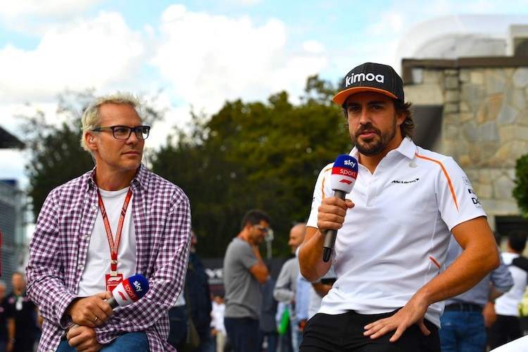 Jacques Villeneuve und Fernando Alonso 2018 in Monza