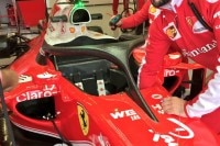 Der anders geformte Halo am Ferrari