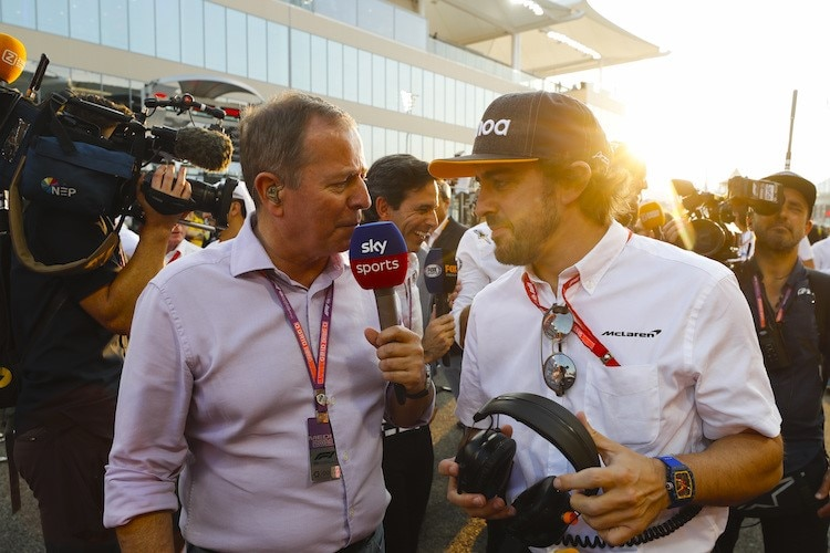 Martin Brundle in Abu Dhabi mit Fernando Alonso
