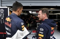 Red Bull Racing-Teamchef Christian Horner mit Alex Albon