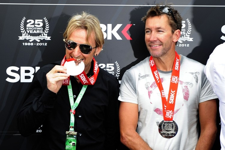Superbike-Ikonen: Carl Fogarty (li.) und Troy Bayliss