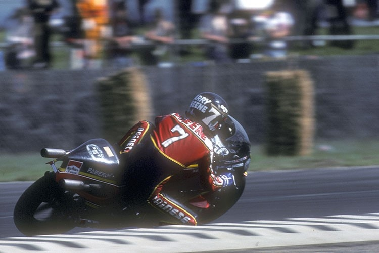 Barry Sheene (Suzuki) 1979 beim Silverstone-GP