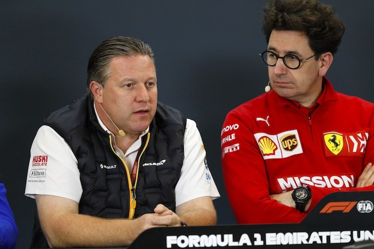 McLaren-CEO Zak Brown und Ferrari-Teamchef Mattia Binotto 2019 in Austin