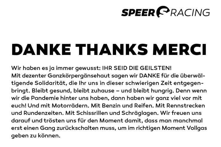 Speer-Racing sagt Danke