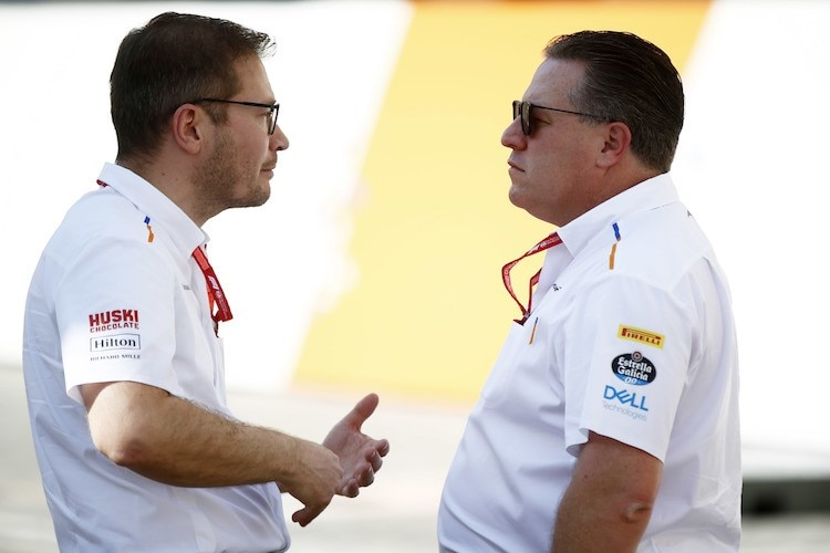 McLaren-Teamchef Andreas Seidl mit CEO Zak Brown