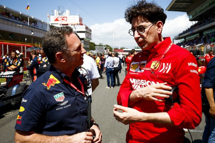 Christian Horner und Mattia Binotto in Barcelona