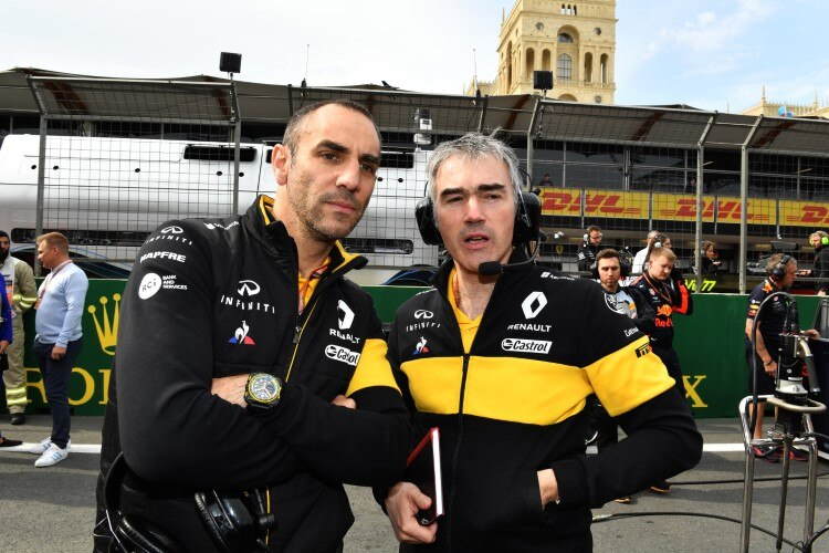 Renault-Sport-Chef Cyril Abiteboul mit Chassis-Chef Nick Chester