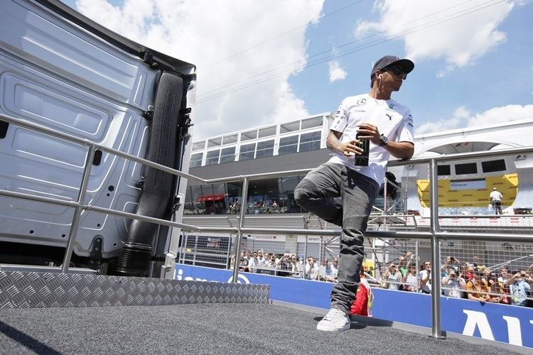 Red Bull Ring, Spielberg, Austria.Sunday 22 June 2014.Lewis Hamilton, Mercedes AMG, in the drivers parade.World Copyright: Charles Coates/LAT Photographic.ref: Digital Image _N7T4575