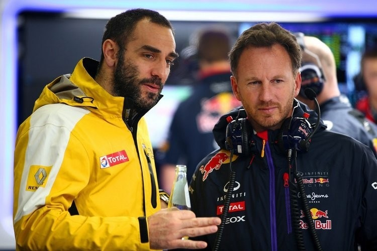 Cyril Abiteboulr mit Red Bull Racing-Teamchef Christian Horner