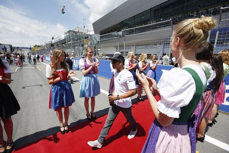 Red Bull Ring, Spielberg, Austria. Sunday 22 June 2014. Lewis Hamilton, Mercedes AMG, in the drivers parade. World Copyright: Charles Coates/LAT Photographic. ref: Digital Image _N7T4556