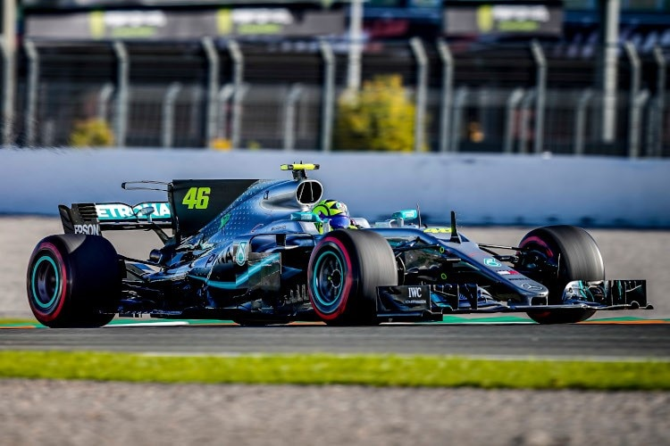 Valentino Rossi im Mercedes-AMG F1 W08 EQ Power+